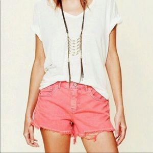 Free People Poppy Raw Hem Boyfriend Shorts